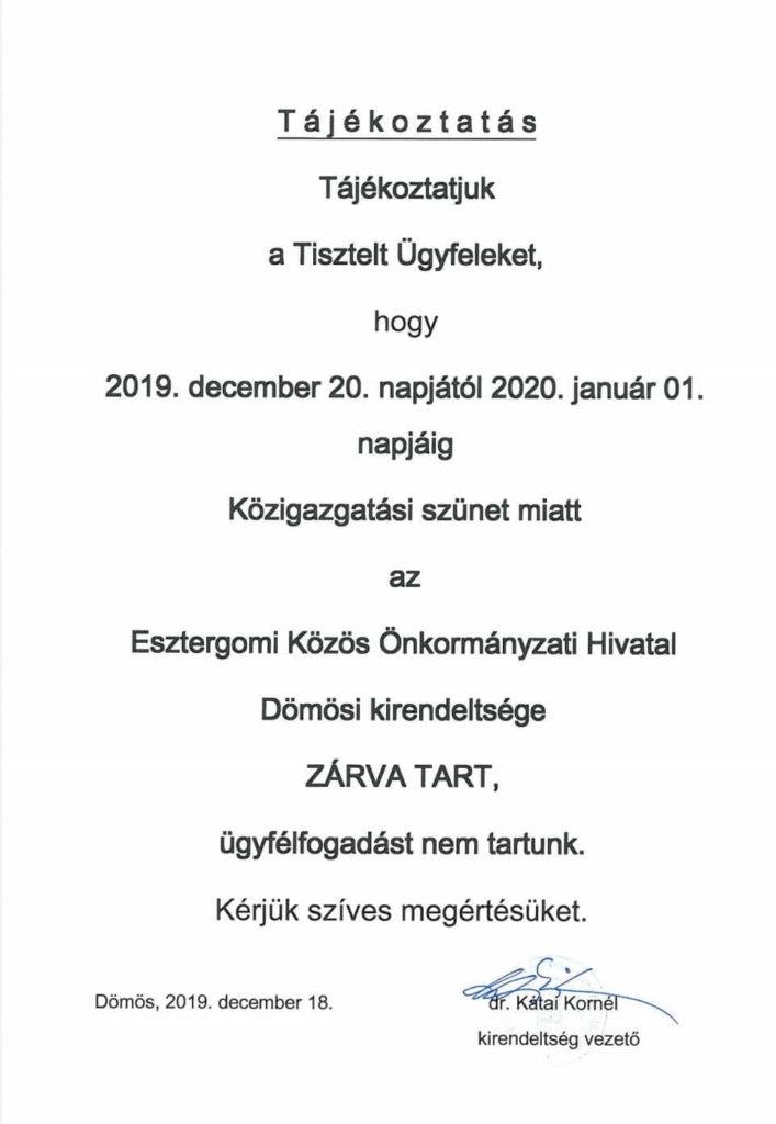 Dömös Önkormányzat december szünet
