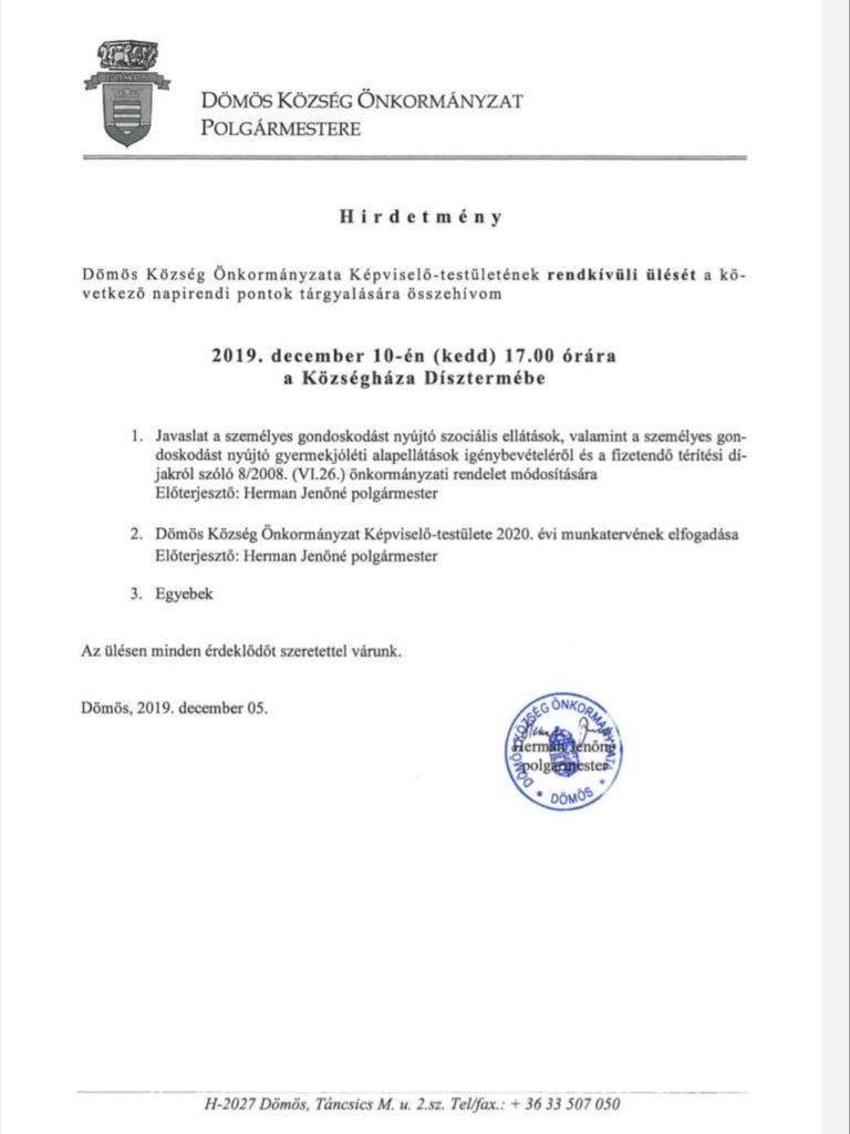 Képviselő-testületi ülés 2019.12.10.