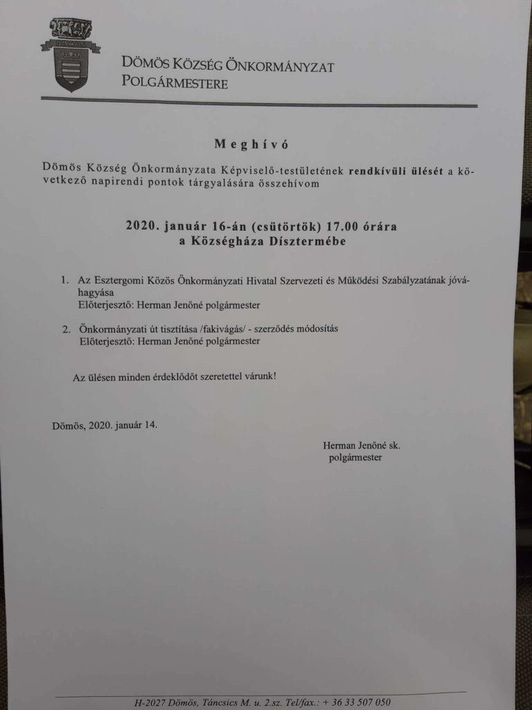2020.01.16. Képviselő-testületi ülés