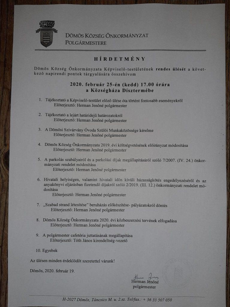 Képviselőtestületi ülés 2020.02.25