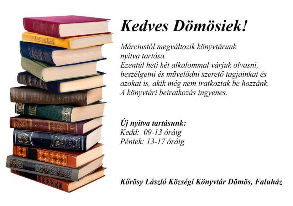 Könyvtár új nyitvatartás