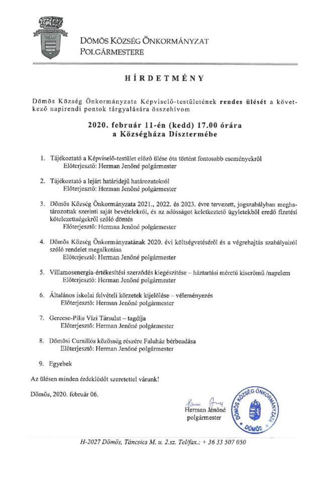 Képviselőtestületi ülés 2020.02.11.