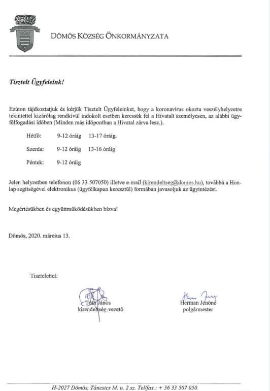 Önkormányzat zárva