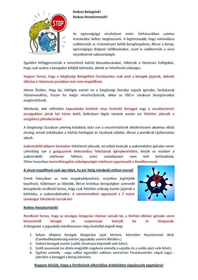 Vaszary kolozs kórház tájékoztatása