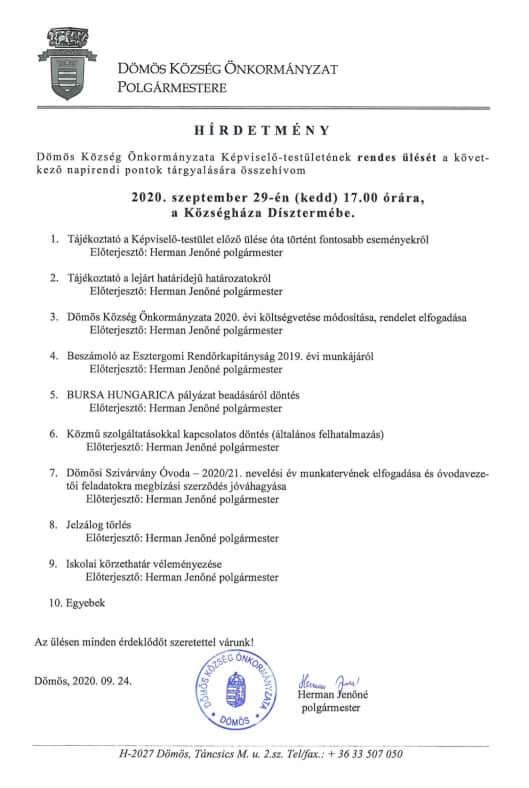2020-09-29 képviselőtestületi ülés