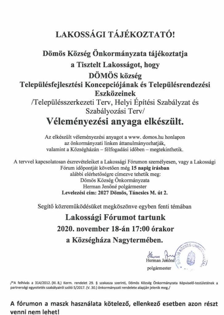 Lakossági tájékoztató 2020.11.09.