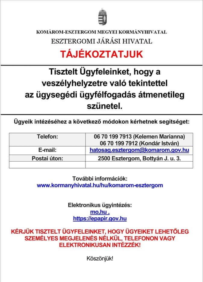 Tájékoztatás 2020.11.11.
