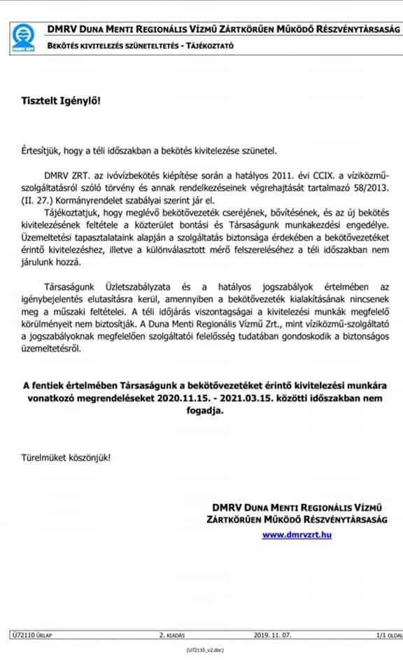 Vízmű tájékoztatás 2020.11.18.