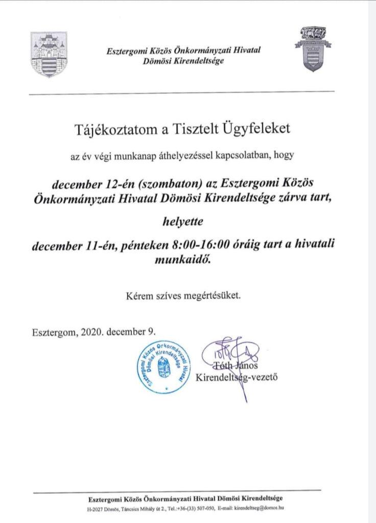 Nyitvatartásváltozás 2020.12.12.
