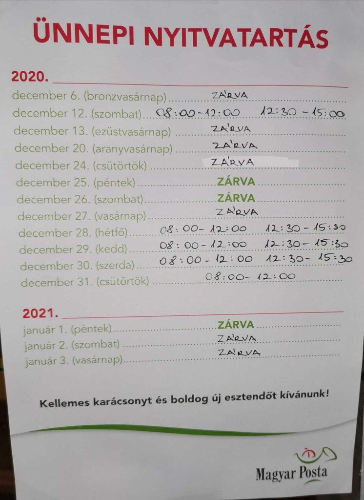 Posta évvégi nyitvatartás 2020