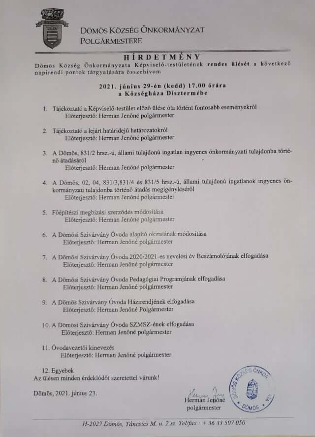 Képviselő-testületi ülés 2021.06.29.